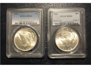 Peace Dólar Plata Año 1922 y 1923 $180, Puerto Rico
