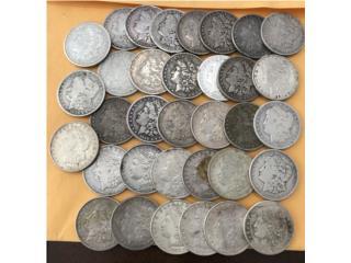 Lote 34 Monedas Dólar Morgan Plata $915, Puerto Rico