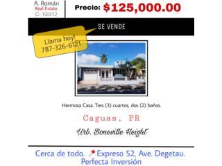 Hermosa -Boneville, Caguas 3 cuartos, 3 baños
