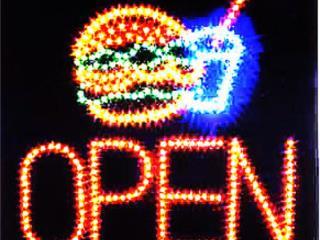 Letrero LED Hamburger Open, Puerto Rico