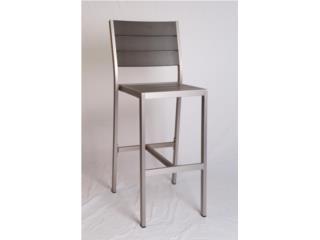 Barstool de aluminio y polywood color gris, Puerto Rico