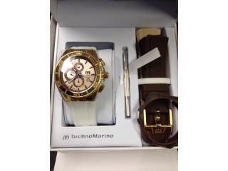 Reloj Technomarine Brown/Oro con 3 correas , Puerto Rico