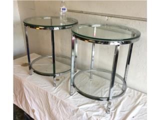 2 Side Tables: Chrome & Glass 60's Glam Style, Puerto Rico