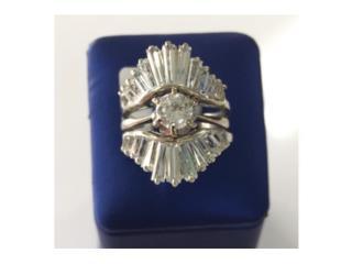 sortija 14k oro blanco con diamantes, Puerto Rico