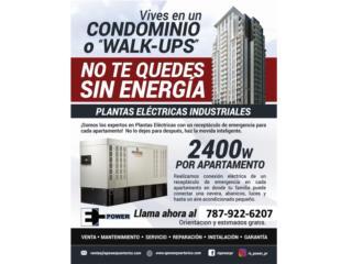 PLANTA ELÉCTRICAS PARA CONDOMINIO Y WALK UPS, Puerto Rico
