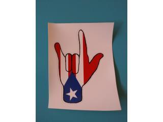 Stickers de PR en lenguaje de señas $3 c/u, Puerto Rico