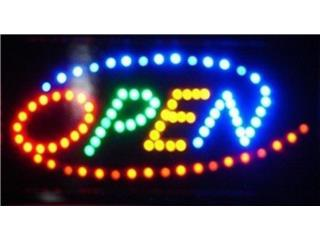 LED Sign Open Multicolor 19 x 10., Puerto Rico