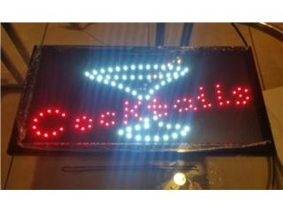 LED SIGN COCTAILS 19 X 10 IN., Puerto Rico