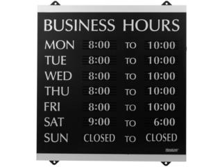 Business Hours Sign  14 x 13 Black & Silver, Puerto Rico