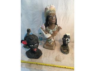 Lote de 4 figuras de gesso.  El Indio=2 pies, Puerto Rico