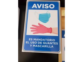 AVISO MANDATORIO MASCARILLAS Y GUANTES, Puerto Rico