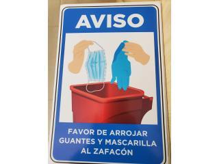 AVISO ARROJAR GUANTES/MASCARILLAL ZAFACON , Puerto Rico
