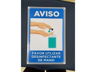 AVISO UTILIZAR DESINFECTANTE 8 X 11, Puerto Rico