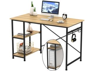 COMPUTER DESK WITH 2 HOOKS & STORAGE SHELVES, Puerto Rico