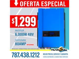 Inversor 6,000W 48V con Controlador INTEGRADO, Puerto Rico
