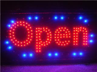 LED SIGN OPEN DOUBLE BULBS RD/BLUE 19, Puerto Rico