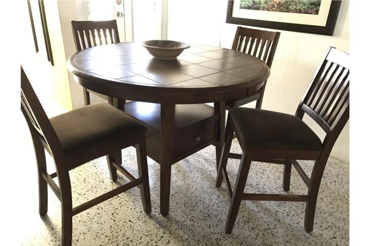 Juego de comedor alto 4 sillas madera sólida Puerto Rico - photo#4