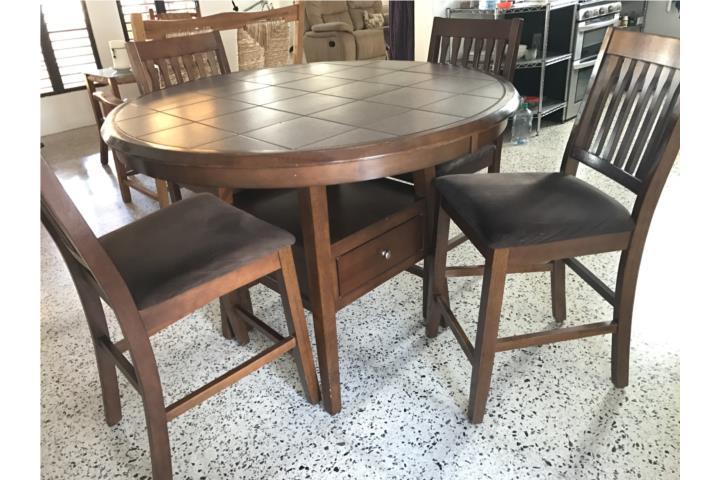 Juego de comedor alto madera sólida 4 sillas Puerto Rico - photo#5