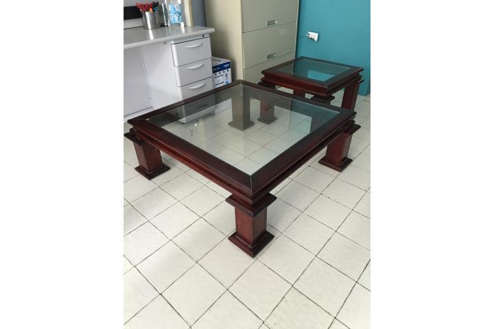 Mesas de centro y esquina en madera caoba puerto rico for Mesas para esquinas