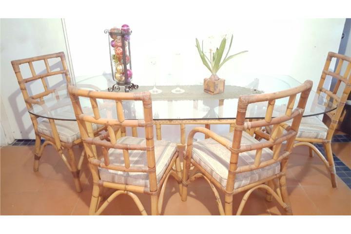 Juego de comedor 6 sillas en rattan original puerto rico for Sillas rattan comedor