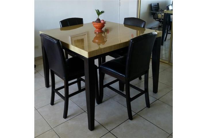 JUego de comedor alto 4 sillas en cuero Puerto Rico - photo#15