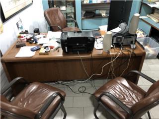 Hatillo Puerto Rico Energia Renovable Solar, Set de escritorio/credenza/3 butacas piel