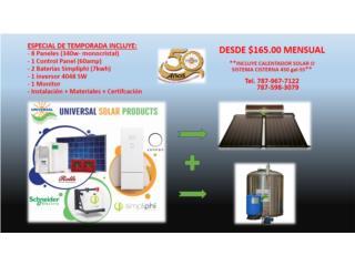 San Juan Puerto Rico Calentadores de Agua, CALENTADOR SOLAR + PVS CON BATERIAS