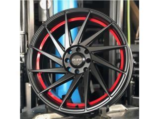 RUFF RACING 18 - 5X108/114.3 - Negro con rojo Puerto Rico aroshop