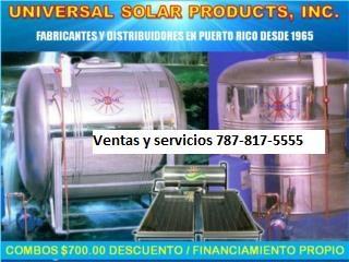TANQUE DE AGUA,ST.ST.UNIVERSAL,AUTOMATIZADA, UNIVERSAL SOLAR, 787-817-5555 OFIC. CENTRAL Puerto Rico