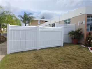 Verja PVC Modelo:Semi Privacy & Louver on Top, Pro Fence Puerto Rico