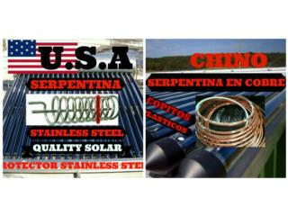CAL.SOL U.S.A.SERP Y TANQUE ST.STEEL.NO CHINO, Quality Solar System 787-517-0663 Puerto Rico