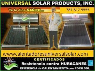 8 MODELOS CALENTADORES SOLARES UNIVERSAL, UNIVERSAL SOLAR, 787-817-5555 OFIC. CENTRAL Puerto Rico
