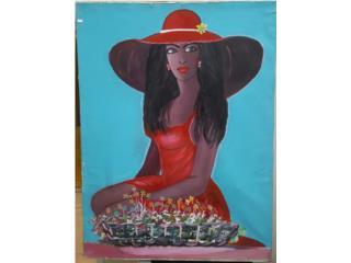 Cuadro mujer con vestido y sombrero rojo, Quality Sales PR Puerto Rico