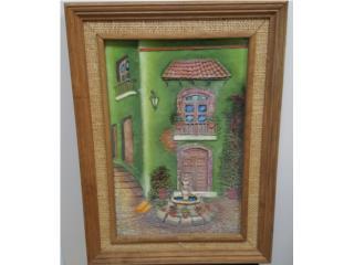 Cuadro casa rústica con fuente, Quality Sales PR Puerto Rico