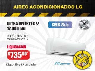 ULTRA INVERTER V LG, 12,000 btu SEER 25.5, Steel and Pipes Puerto Rico