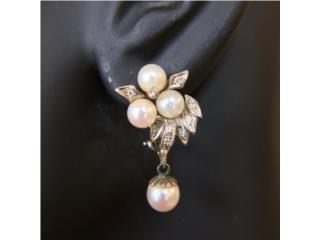 Vintage Set de Perlas y Diamantes en Oro 14kt, Cashex Puerto Rico