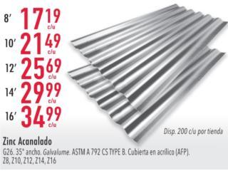 ZINC ACANALADO 8', 10', 12', 14', Y 16', Ferreteria Ace Berrios Puerto Rico