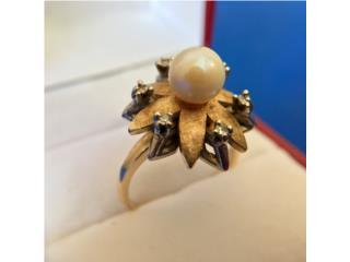 Anillo Vintage Diamantes y Perla en Oro 14kt, Cashex Puerto Rico