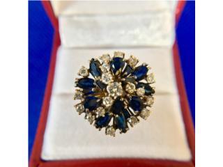 Anillo Vintage de Dama Diamantes y Zafiros, Cashex Puerto Rico