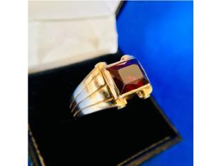 Anillo Oro 14k Piedra Roja de Caballero, Cashex Puerto Rico