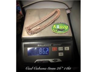 "Cadena Cubana Rose Gold 8mm 26"" 14kt $4,140, Krazy Pawn Corp Puerto Rico"