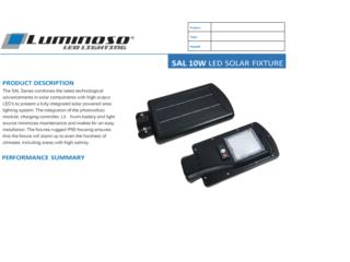 Luminoso Solar LED Street Lights 10W SP, CARIBBEAN ENERGY DISTRIBUTOR Puerto Rico
