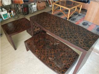 Set 3 mesas. Con diseños/print, ECONO/CRISIS SOLUTIONS Puerto Rico