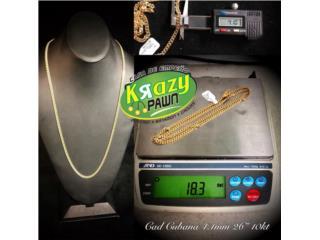 "Cadena Cubana NUEVA 4.1mm 26"" 10kt, Krazy Pawn Corp Puerto Rico"
