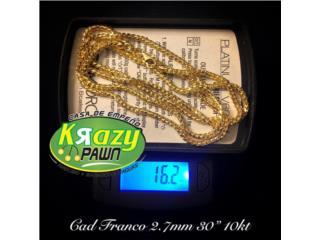 "Cadena Franco Solida 2.7mm 30"" 10kt, Krazy Pawn Corp Puerto Rico"