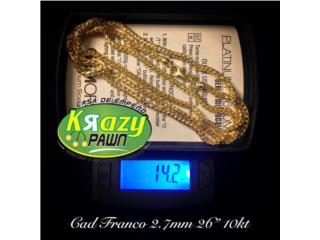 "Cadena Franco Solida 2.7mm 26"" 10kt, Krazy Pawn Corp Puerto Rico"