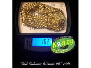 "Cadena Cubana Semi-Solida 6.2mm 26"" 10kt , Krazy Pawn Corp Puerto Rico"