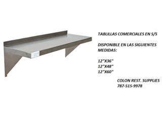 TABLILLAS EN ACERO INOXIDABLE, Colón Restaurant Supplies Puerto Rico