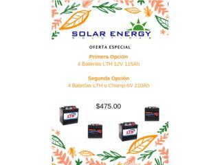 4 Baterías LTH o Champ 6V o 12V, Solar Energy Solutions LLC Puerto Rico