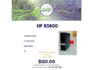 HP R5800 | i3 | 250 HDD | 2 GB RAM | W7PRO , Reuse Outlet Store Puerto Rico